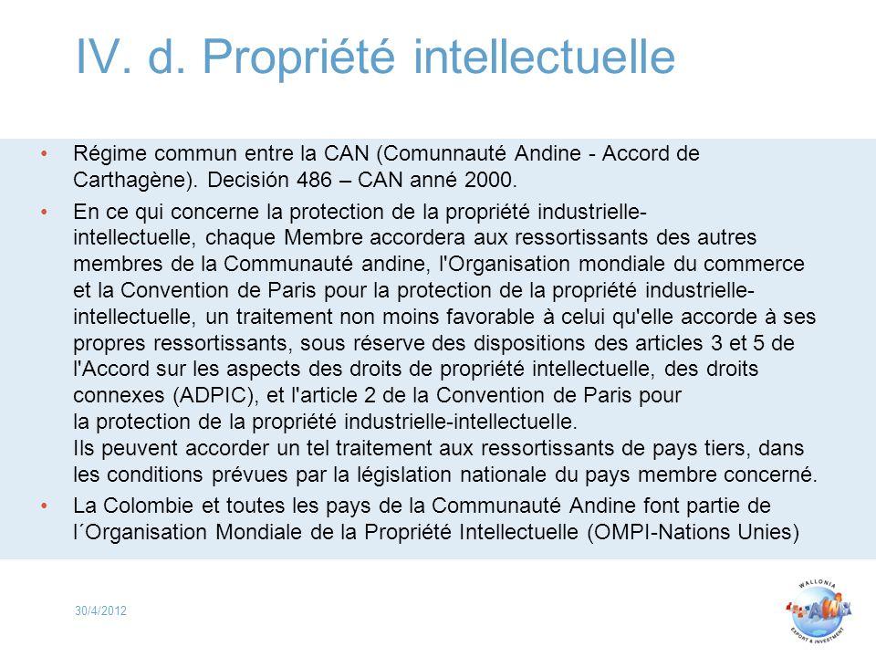 IV. d. Propriété intellectuelle Régime commun entre la CAN (Comunnauté Andine - Accord de Carthagène). Decisión 486 – CAN anné 2000. En ce qui concern