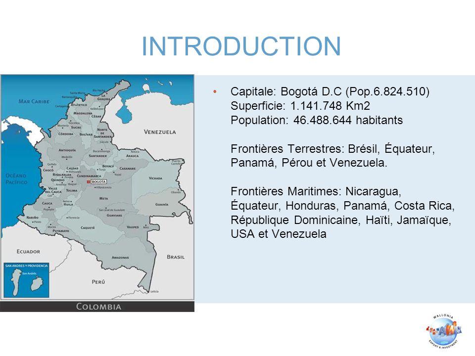 Capitale: Bogotá D.C (Pop.6.824.510) Superficie: 1.141.748 Km2 Population: 46.488.644 habitants Frontières Terrestres: Brésil, Équateur, Panamá, Pérou
