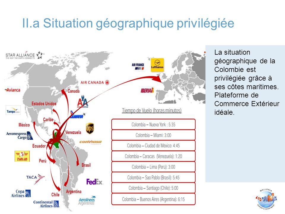 II.a Situation géographique privilégiée 26/01/2009 La situation géographique de la Colombie est privilégiée grâce à ses côtes maritimes. Plateforme de