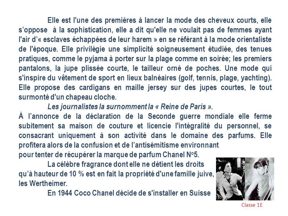 COCO CHANEL Gabrielle Bonheur Chasnel dite Coco Chanel est née le 19 aout 1883 à Saumur et est morte le 17 janvier 1971 à Paris est une créatrice, mod