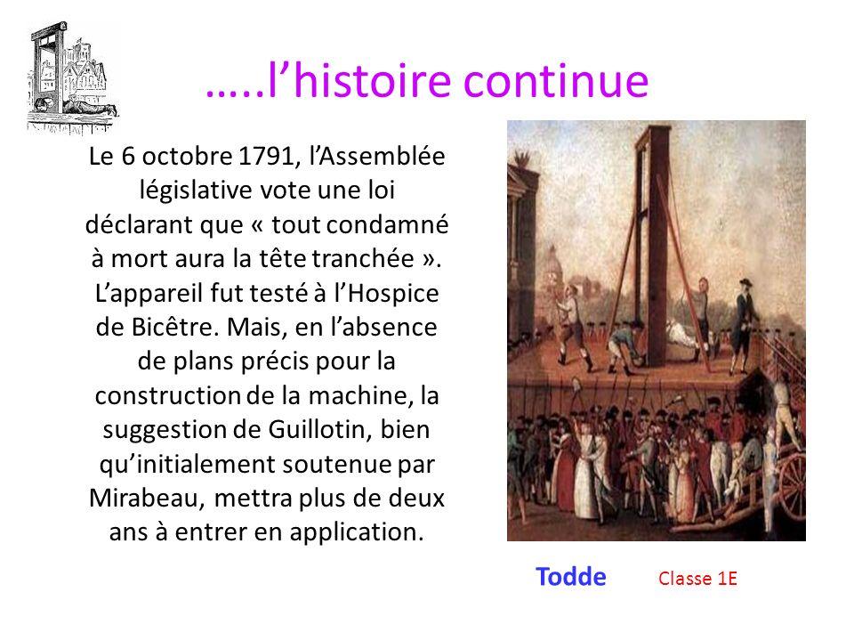LA GUILLOTINE Classe 1E La guillotine (ou louisette) est une machine qui était utilisée pour lapplication de la peine de mort par décapitation, en Fra