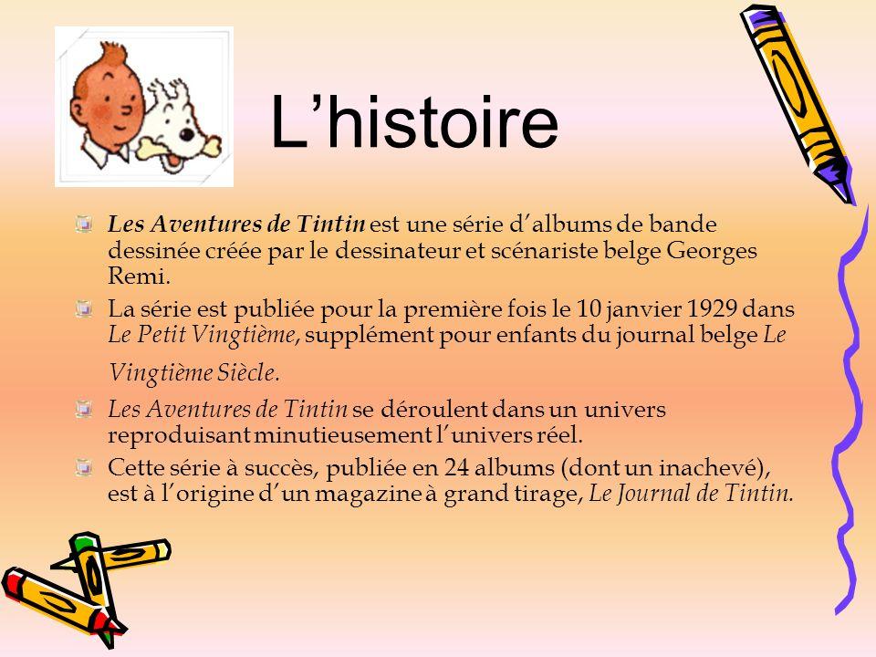 Les Aventures de Tintin est une série dalbums de bande dessinée créée par le dessinateur et scénariste belge Georges Remi. La série est publiée pour l