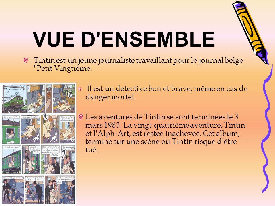 VUE D'ENSEMBLE Tintin est un jeune journaliste travaillant pour le journal belge