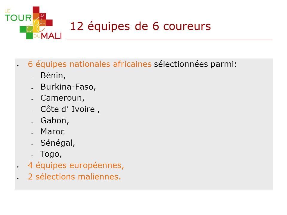12 équipes de 6 coureurs 6 équipes nationales africaines sélectionnées parmi: Bénin, Burkina-Faso, Cameroun, Côte d Ivoire, Gabon, Maroc Sénégal, Togo