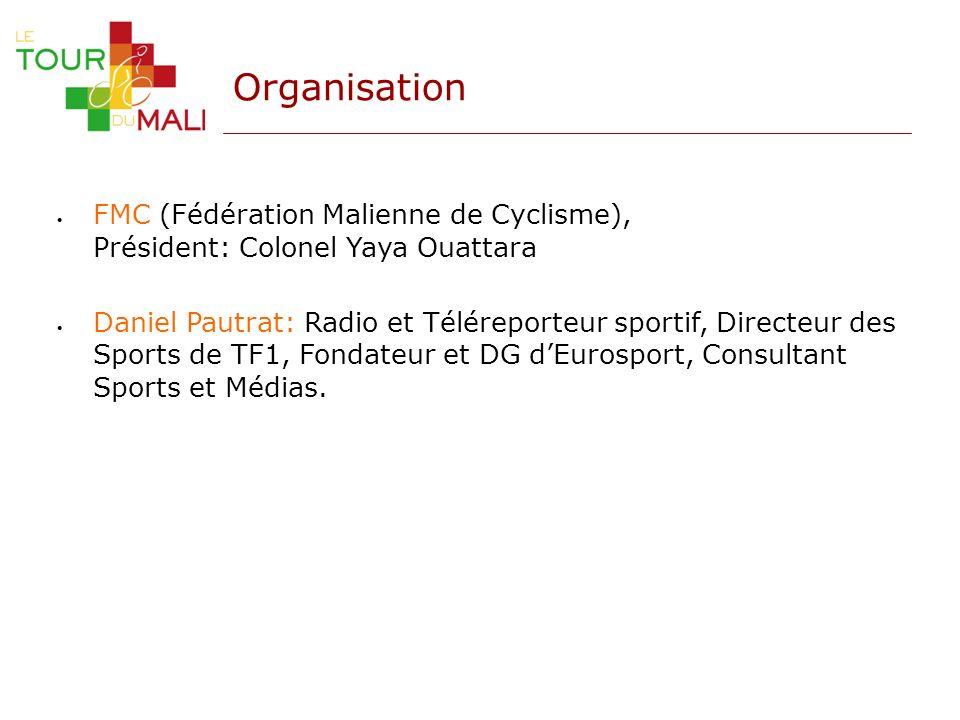 Organisation FMC (Fédération Malienne de Cyclisme), Président: Colonel Yaya Ouattara Daniel Pautrat: Radio et Téléreporteur sportif, Directeur des Spo
