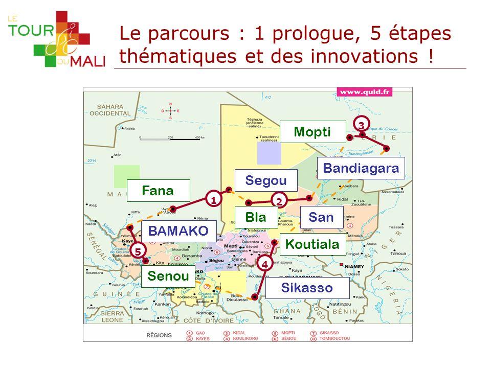 Le parcours : 1 prologue, 5 étapes thématiques et des innovations ! 1 Fana 2 Bla 3 4 BAMAKO Segou Sikasso Mopti 5 San Koutiala Bandiagara Senou