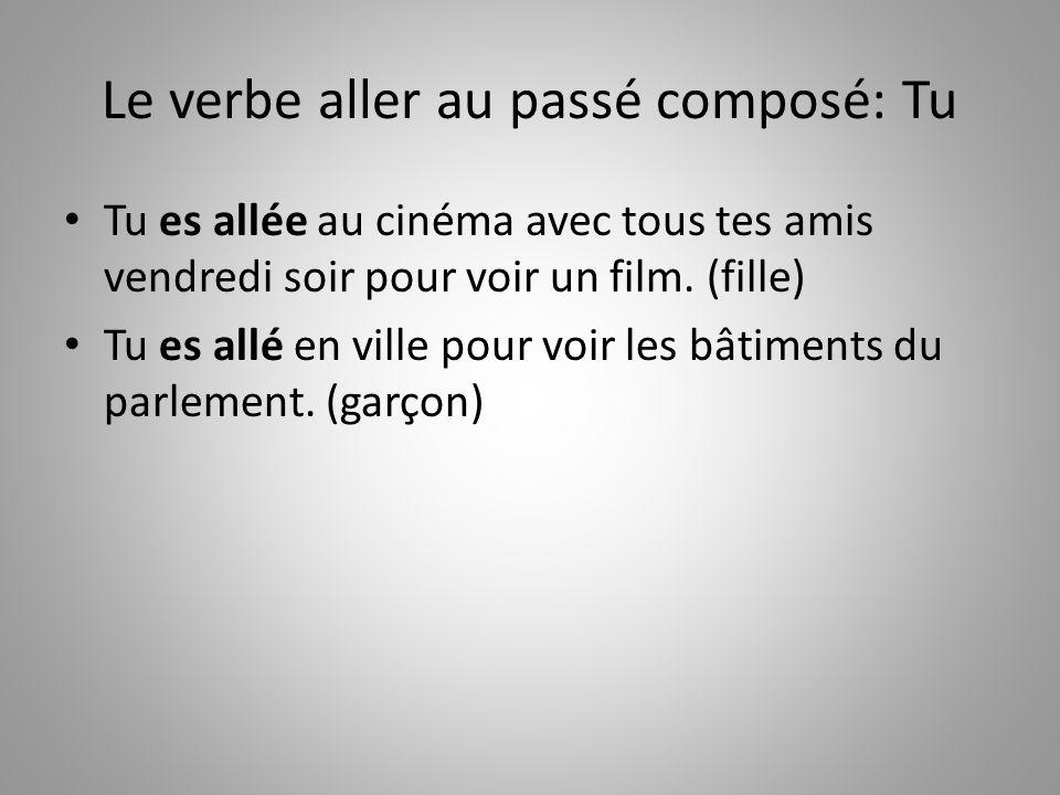 Le verbe aller au passé composé: Tu Tu es allée au cinéma avec tous tes amis vendredi soir pour voir un film. (fille) Tu es allé en ville pour voir le