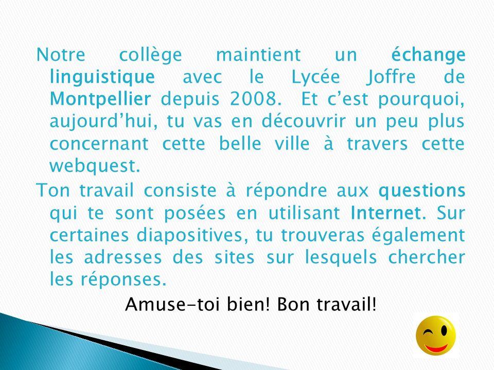 Notre collège maintient un échange linguistique avec le Lycée Joffre de Montpellier depuis 2008.
