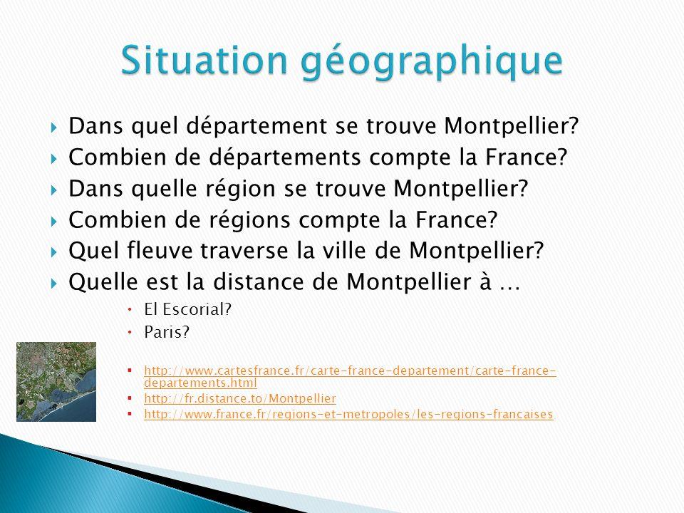 Dans quel département se trouve Montpellier.Combien de départements compte la France.