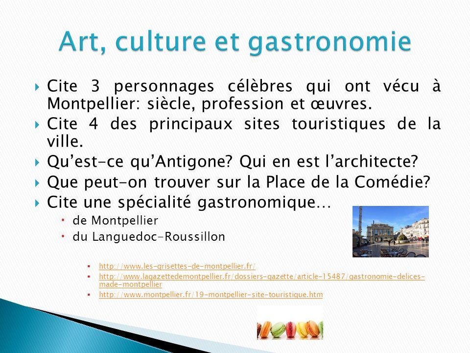 Cite 3 personnages célèbres qui ont vécu à Montpellier: siècle, profession et œuvres.