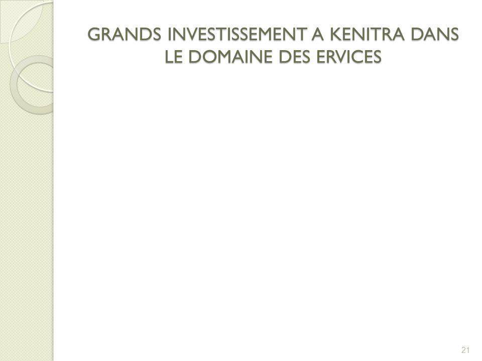 GRANDS INVESTISSEMENT A KENITRA DANS LE DOMAINE DES ERVICES 21