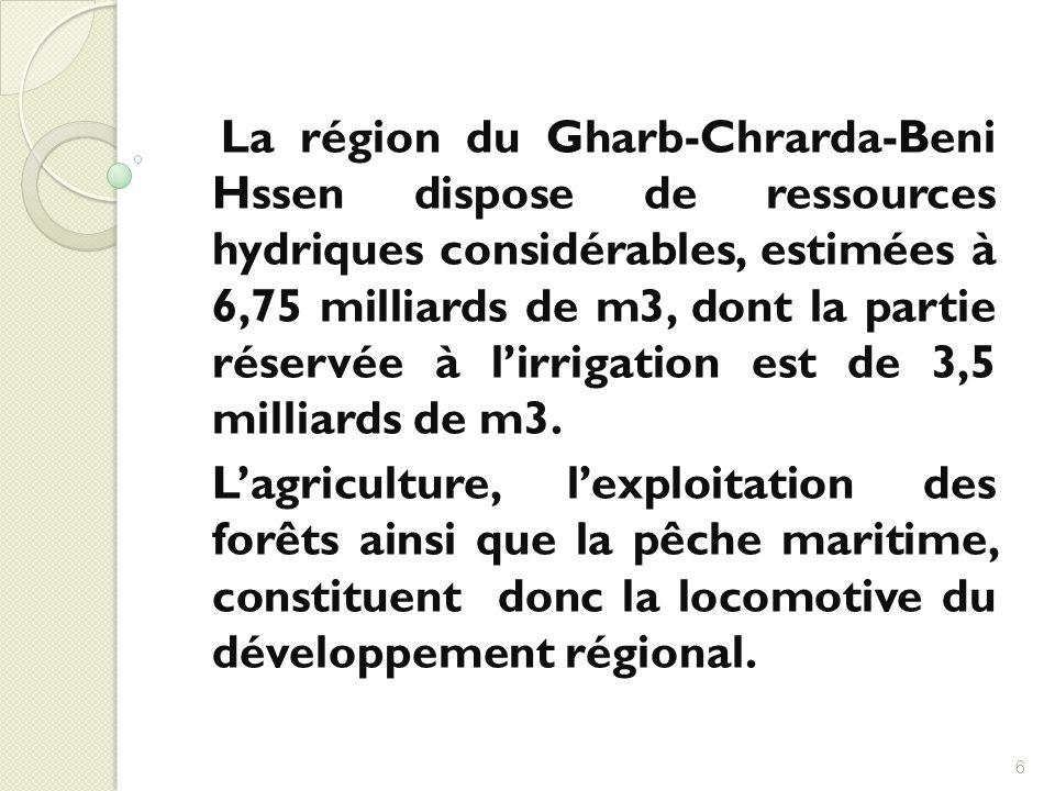 La région du Gharb-Chrarda-Beni Hssen dispose de ressources hydriques considérables, estimées à 6,75 milliards de m3, dont la partie réservée à lirrig