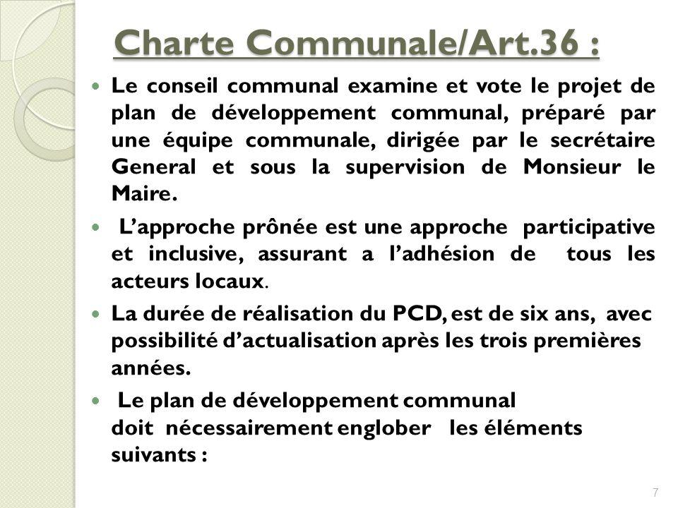 Charte Communale/Art.36 : Le conseil communal examine et vote le projet de plan de développement communal, préparé par une équipe communale, dirigée p