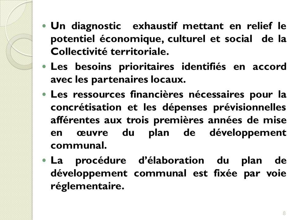 Un diagnostic exhaustif mettant en relief le potentiel économique, culturel et social de la Collectivité territoriale. Les besoins prioritaires identi