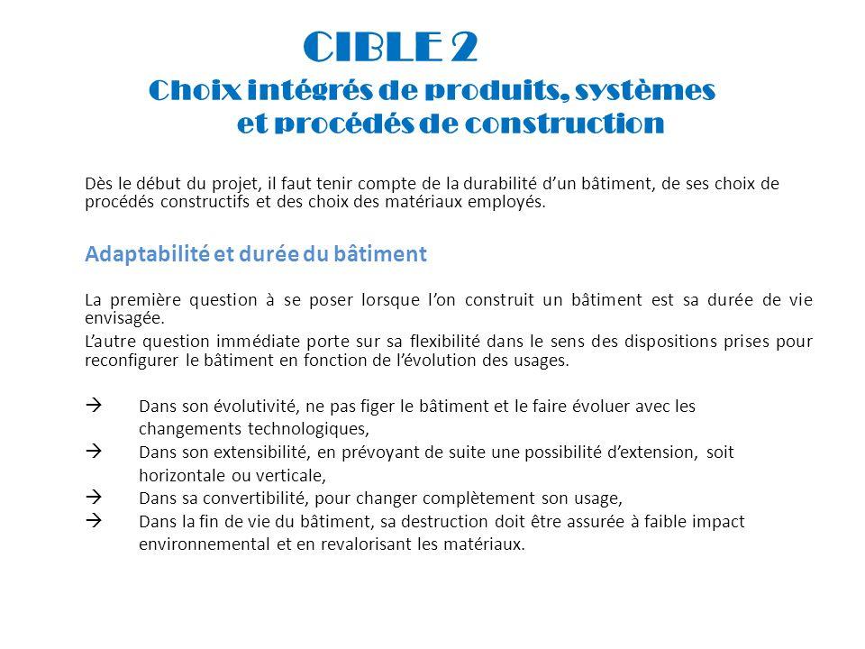 CIBLE 2 Choix intégrés de produits, systèmes et procédés de construction Dès le début du projet, il faut tenir compte de la durabilité dun bâtiment, d