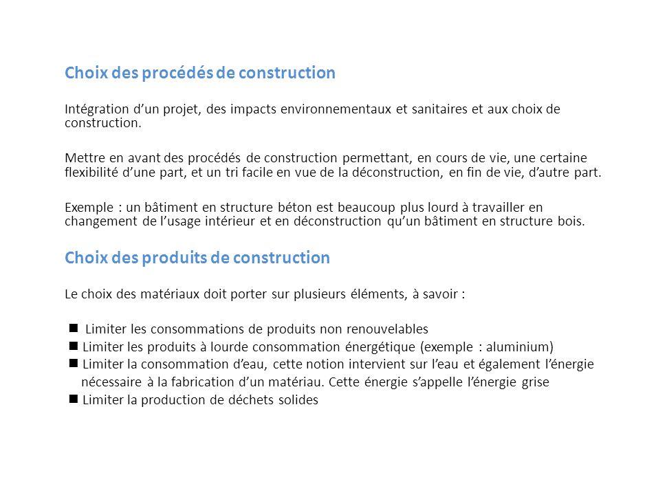 Choix des procédés de construction Intégration dun projet, des impacts environnementaux et sanitaires et aux choix de construction. Mettre en avant de