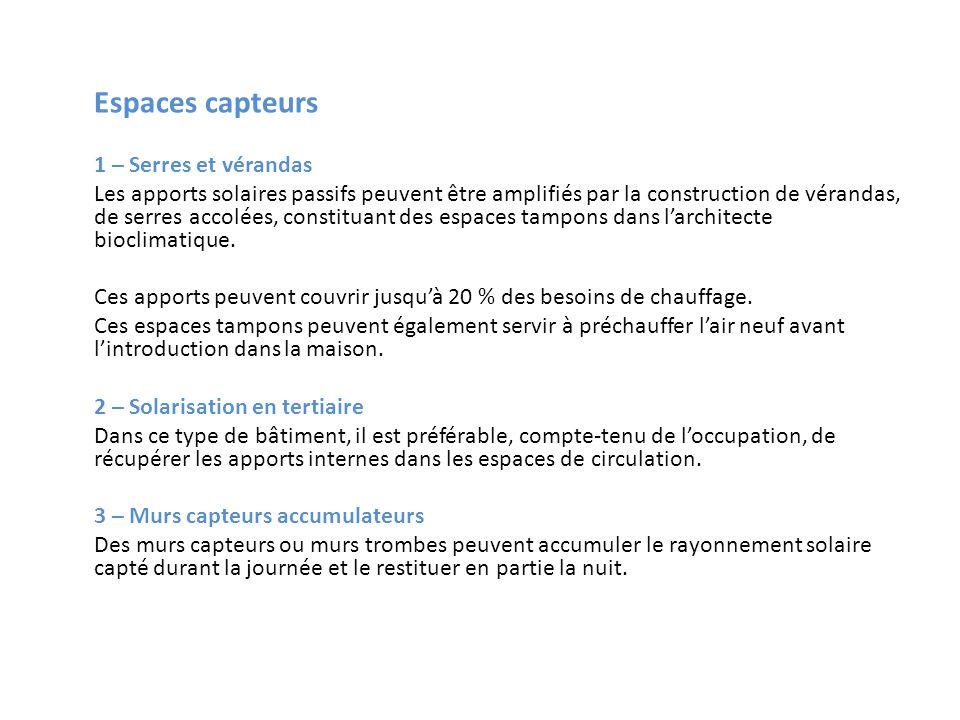 Espaces capteurs 1 – Serres et vérandas Les apports solaires passifs peuvent être amplifiés par la construction de vérandas, de serres accolées, const