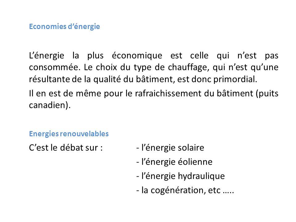 Economies dénergie Lénergie la plus économique est celle qui nest pas consommée. Le choix du type de chauffage, qui nest quune résultante de la qualit