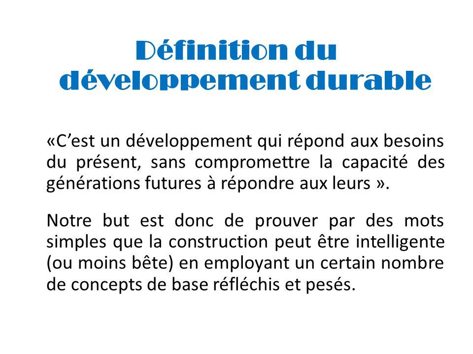 Définition du développement durable «Cest un développement qui répond aux besoins du présent, sans compromettre la capacité des générations futures à