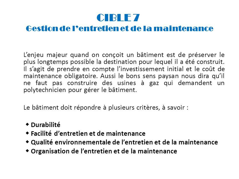 CIBLE 7 Gestion de lentretien et de la maintenance Lenjeu majeur quand on conçoit un bâtiment est de préserver le plus longtemps possible la destinati
