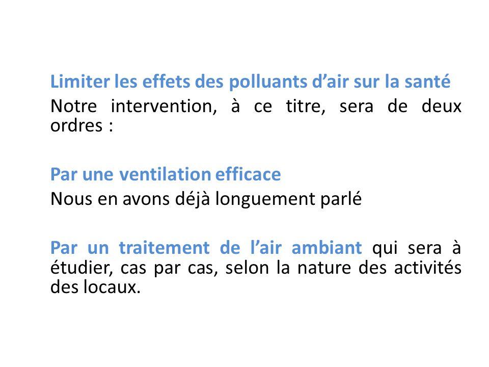 Limiter les effets des polluants dair sur la santé Notre intervention, à ce titre, sera de deux ordres : Par une ventilation efficace Nous en avons dé