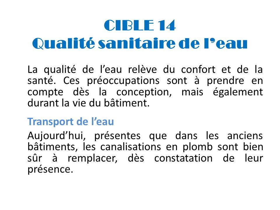 CIBLE 14 Qualité sanitaire de leau La qualité de leau relève du confort et de la santé. Ces préoccupations sont à prendre en compte dès la conception,