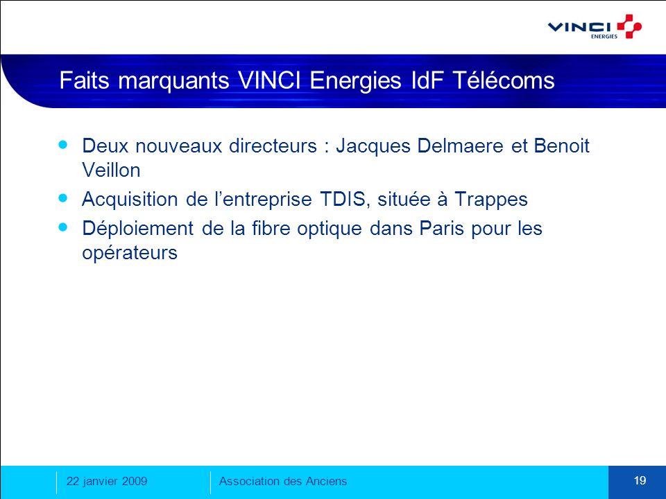 22 janvier 2009Association des Anciens 19 Faits marquants VINCI Energies IdF Télécoms Deux nouveaux directeurs : Jacques Delmaere et Benoit Veillon Ac