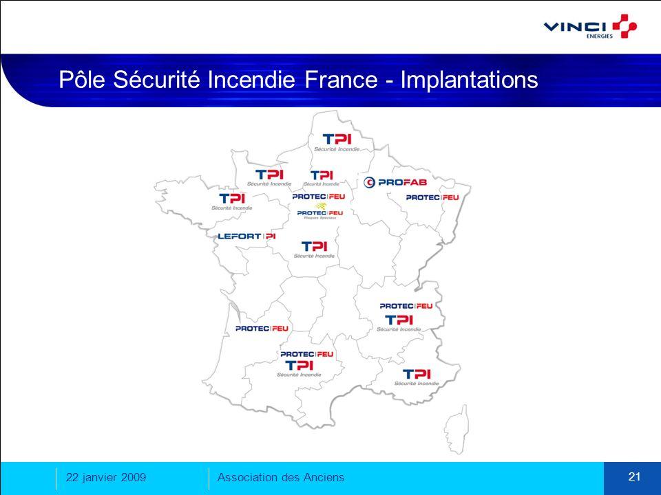 22 janvier 2009Association des Anciens 21 Pôle Sécurité Incendie France - Implantations