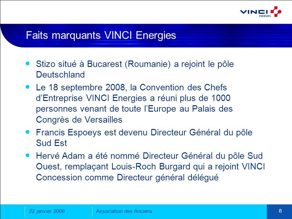 22 janvier 2009Association des Anciens 8 Faits marquants VINCI Energies Stizo situé à Bucarest (Roumanie) a rejoint le pôle Deutschland Le 18 septembr