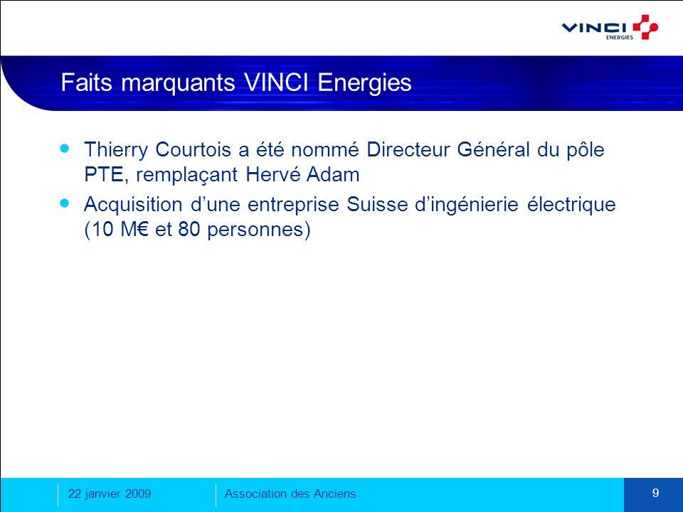 22 janvier 2009Association des Anciens 9 Faits marquants VINCI Energies Thierry Courtois a été nommé Directeur Général du pôle PTE, remplaçant Hervé A