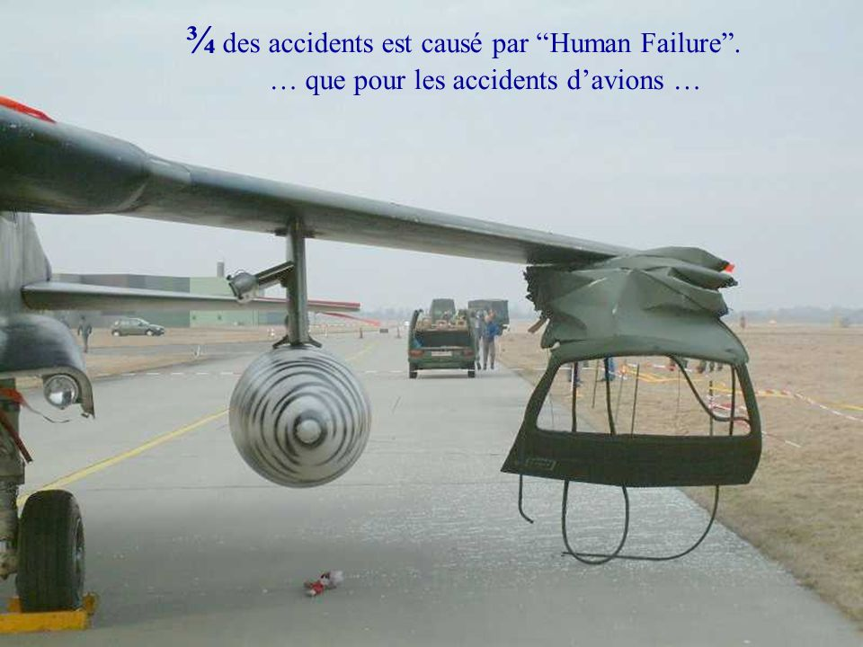Human Performance & Limitations: Human Factors in Aviation Safety ¾ des accidents est causé par Human Failure. Cela vaut aussi bien pour les accidents