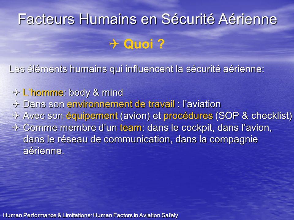 Human Performance & Limitations: Human Factors in Aviation Safety 0,00 0,05 0,10 0,15 0,20 0,25 0,30 0,35 0,40 0,45 1993-20021993-19971998-2002 AccRatio (Cat A) Italie Portugal Belgique Royaume-Uni Pays-Bas Espagne Norvège Marge de croissance sur le plan de la SA = Facteurs Humains ?