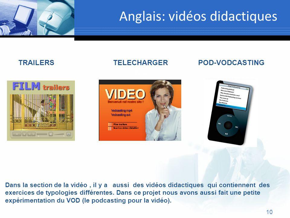 10 Anglais: vidéos didactiques Text Dans la section de la vidéo, il y a aussi des vidéos didactiques qui contiennent des exercices de typologies diffé