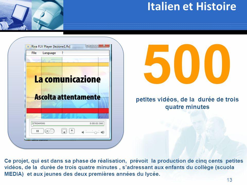 13 Italien et Histoire Ce projet, qui est dans sa phase de réalisation, prévoit la production de cinq cents petites vidéos, de la durée de trois quatr