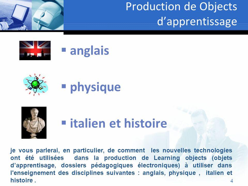 4 Production de Objects dapprentissage anglais physique italien et histoire je vous parlerai, en particulier, de comment les nouvelles technologies on