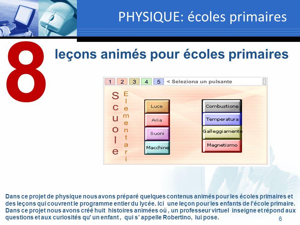 6 PHYSIQUE: écoles primaires leçons animés pour écoles primaires Dans ce projet de physique nous avons préparé quelques contenus animés pour les école