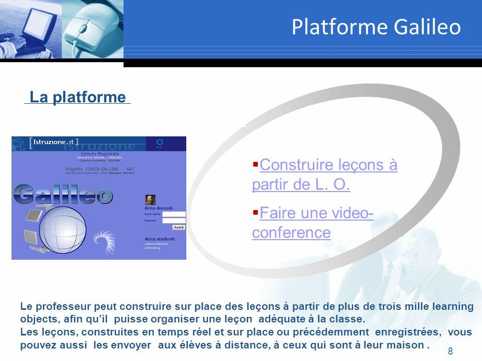 8 Platforme Galileo Text La platforme Construire leçons à partir de L. O. Construire leçons à partir de L. O. Faire une video- conference Faire une vi