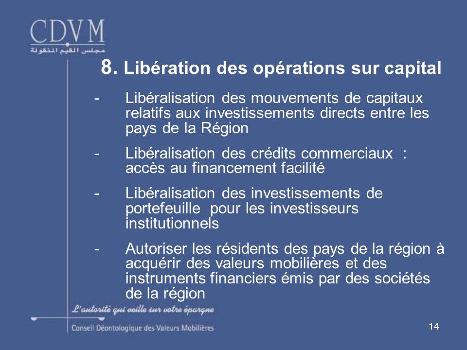 14 -Libéralisation des mouvements de capitaux relatifs aux investissements directs entre les pays de la Région -Libéralisation des crédits commerciaux