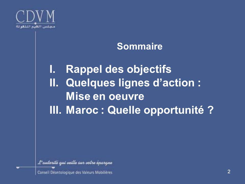 2 Sommaire I.Rappel des objectifs II.Quelques lignes daction : Mise en oeuvre III.Maroc : Quelle opportunité ?