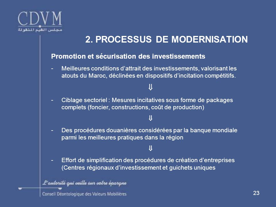 23 Promotion et sécurisation des investissements -Meilleures conditions dattrait des investissements, valorisant les atouts du Maroc, déclinées en dispositifs dincitation compétitifs.