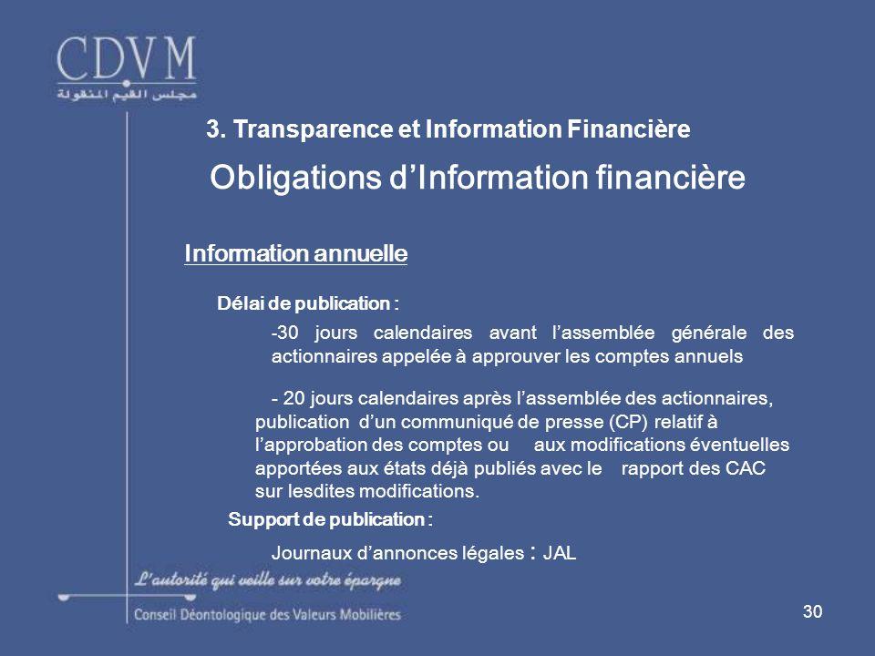 30 Obligations dInformation financière Information annuelle Délai de publication : - 30 jours calendaires avant lassemblée générale des actionnaires a
