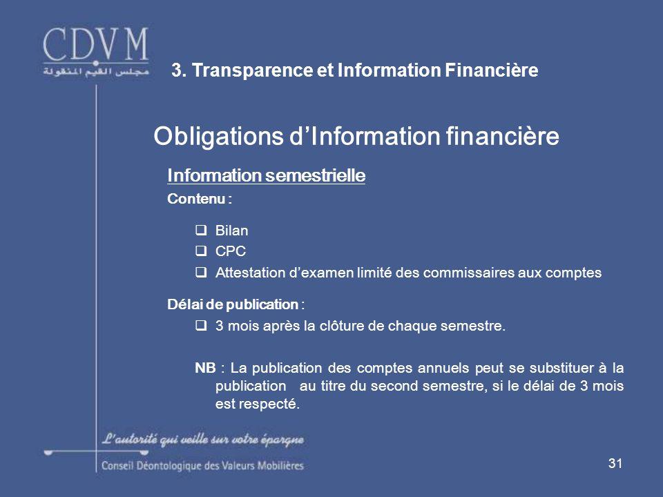 31 Obligations dInformation financière Information semestrielle Contenu : Bilan CPC Attestation dexamen limité des commissaires aux comptes Délai de publication : 3 mois après la clôture de chaque semestre.