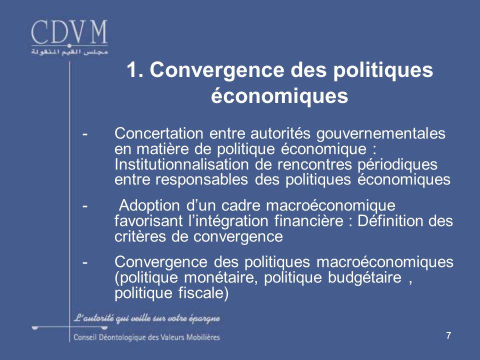 7 -Concertation entre autorités gouvernementales en matière de politique économique : Institutionnalisation de rencontres périodiques entre responsabl