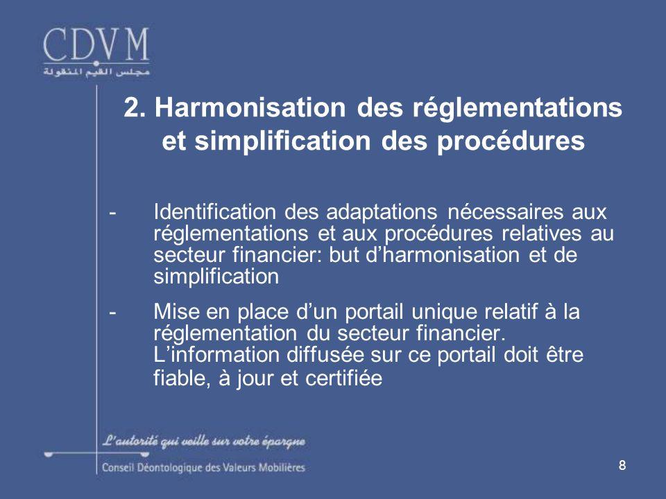 8 -Identification des adaptations nécessaires aux réglementations et aux procédures relatives au secteur financier: but dharmonisation et de simplification -Mise en place dun portail unique relatif à la réglementation du secteur financier.