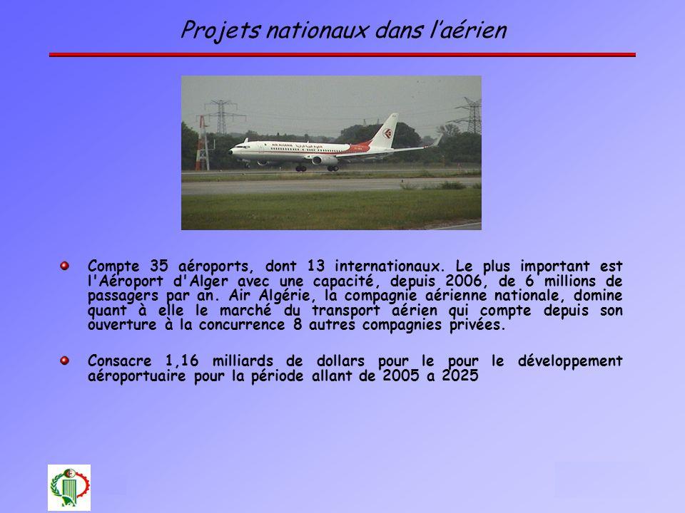 10 Projets nationaux dans laérien Compte 35 aéroports, dont 13 internationaux. Le plus important est l'Aéroport d'Alger avec une capacité, depuis 2006