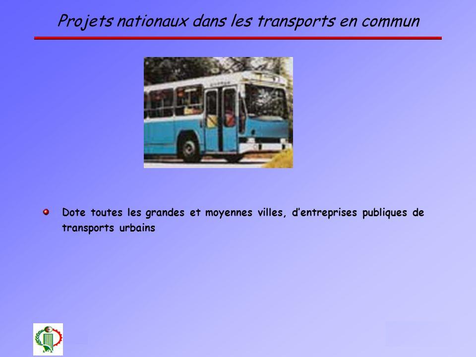 12 Projets nationaux dans les transports en commun Dote toutes les grandes et moyennes villes, dentreprises publiques de transports urbains