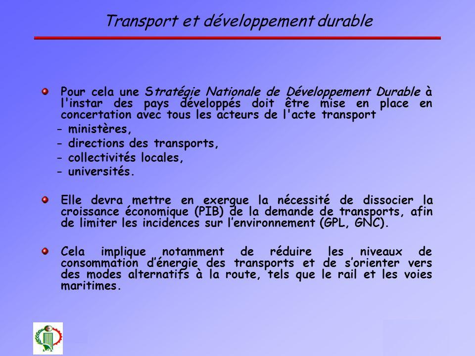 13 Oléron 2003 Transport et développement durable Pour cela une Stratégie Nationale de Développement Durable à l'instar des pays développés doit être