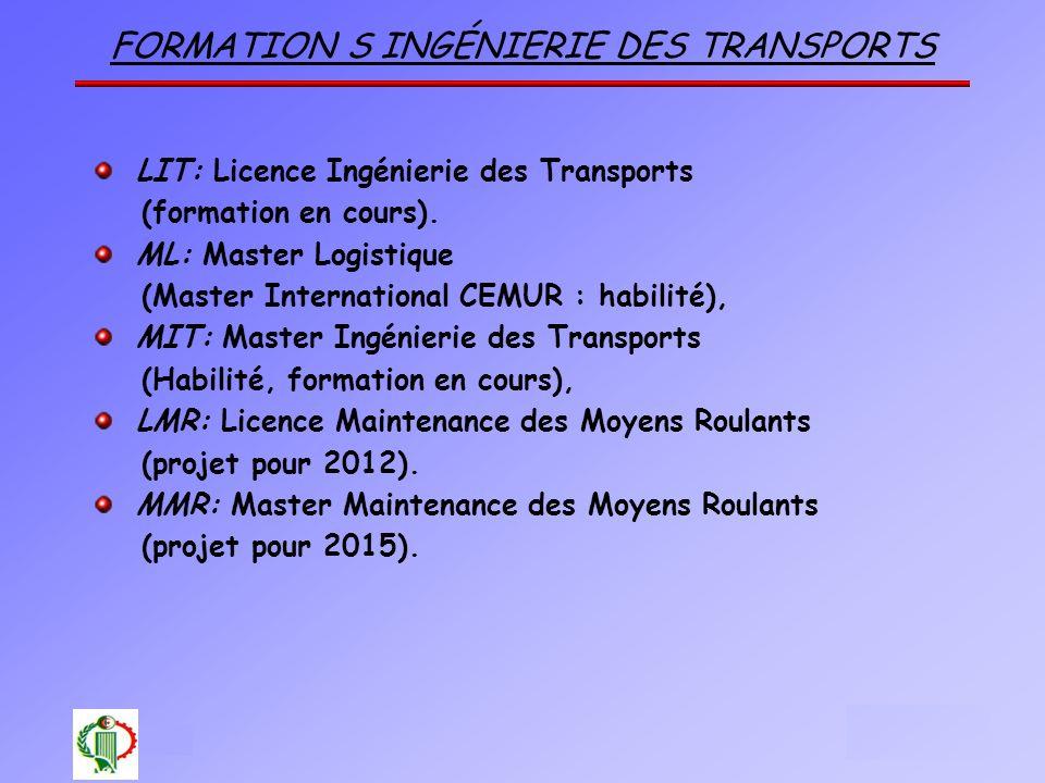 FORMATION S INGÉNIERIE DES TRANSPORTS LIT: Licence Ingénierie des Transports (formation en cours). ML: Master Logistique (Master International CEMUR :