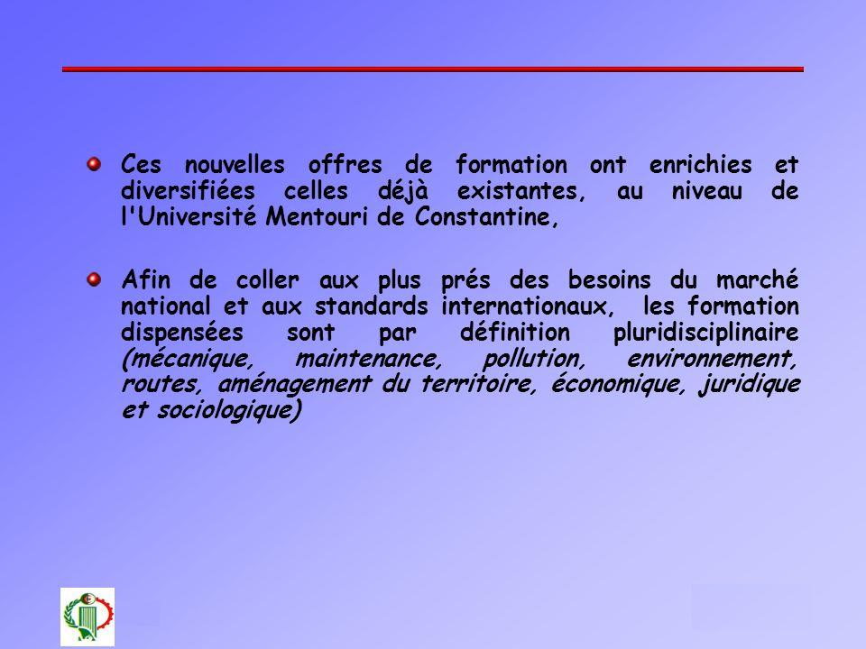 18 Oléron 2003 Ces nouvelles offres de formation ont enrichies et diversifiées celles déjà existantes, au niveau de l'Université Mentouri de Constanti