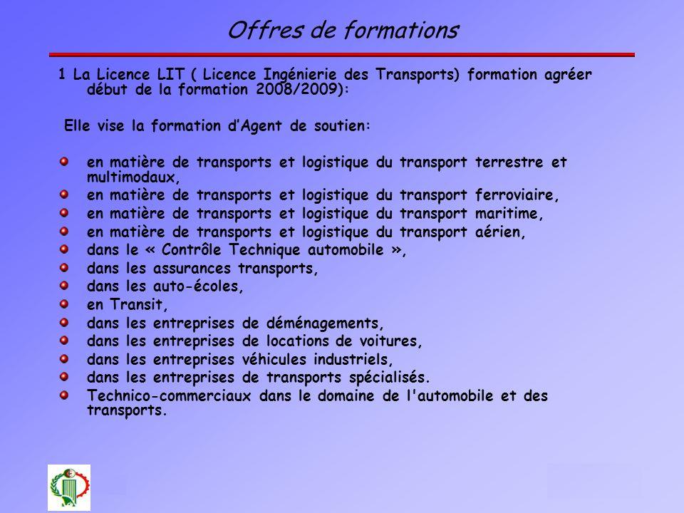 21 Oléron 2003 Offres de formations 1 La Licence LIT ( Licence Ingénierie des Transports) formation agréer début de la formation 2008/2009): Elle vise